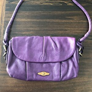 Elliott Lucca Purple Leather Crossbody Bag